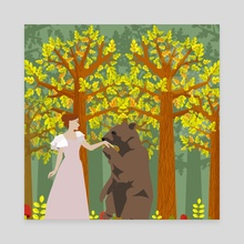 Dancing with a bear - Canvas by Michal Eyal