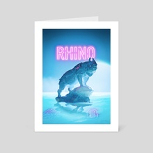 Neon Rhino - Art Card by Hubert Pelerin