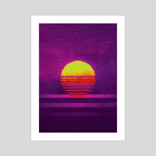 80s Sunset Pixel Art by Visuals Artwork