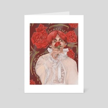 Taehyung with a red rose - Art Card by Kristina Tishchenko