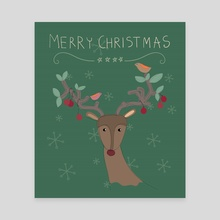 Colorful Merry Christmas raindeer for holiday illustration. - Canvas by Acharaporn Kamornboonyarush