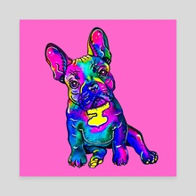 Colorful French Bulldog on Pink - Canvas by Zaira Dzhaubaeva