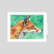 Fox - Art Card by Katrīna Tračuma