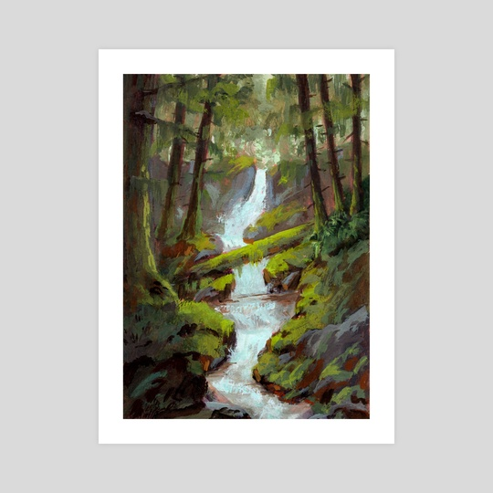 Mossy Forest Stream in Gouache by Ed  Pulella