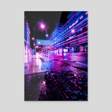 Glowing Lights, Oxford Street, London - Acrylic by H Designs
