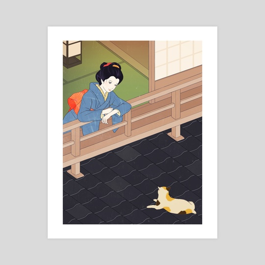 Cat on the tiled roof by Sai Tamiya