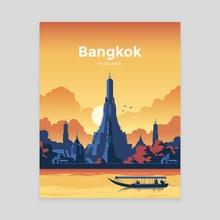 Bangkok Thailand Vintage Travel Poster - Canvas by Gerasim Vityakov