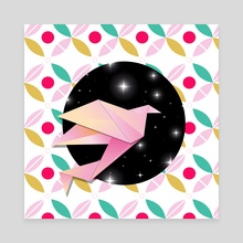 Grue origami crane - Canvas by Loulouvonglup