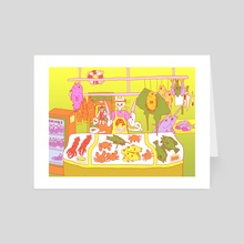 Fresh Fish! Risograph colors - Art Card by Pier Wright