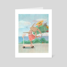 Scooter Bunny - Art Card by Leila Nabih