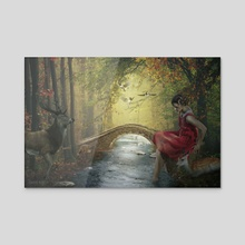 Beauty on the forest stream - Acrylic by Dejan Travica