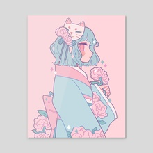 Neko Carnation Mask - Acrylic by Miyuki Verse