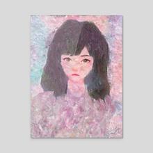 Melancholy Girl Portrait Impressionist Painting - Acrylic by Bridget Garofalo