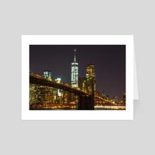 Brooklyn Bridge Night - Art Card by eric urquhart