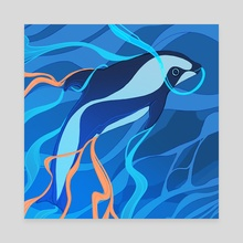 H is for Hourglass Dolphin - Canvas by Ashenwave