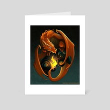 Fire Dragon with Game Controller - Art Card by Ray Kaladis