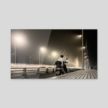 On The Night Bridge, Nantong, China (2015-7-NAN) - Acrylic by Vlad Meytin