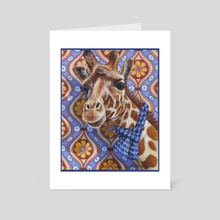 Cozy Giraffe - Art Card by Annette Hassell