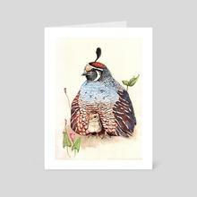 Blue quail with chick - Art Card by Yuko Yoshikawa