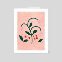Pink Flower Print, Botanical Modern, Minimalist - Art Card by Ariani Anwar