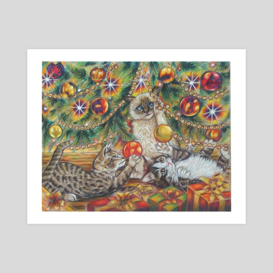 Cats and the Christmas tree by Alessandra Rosi