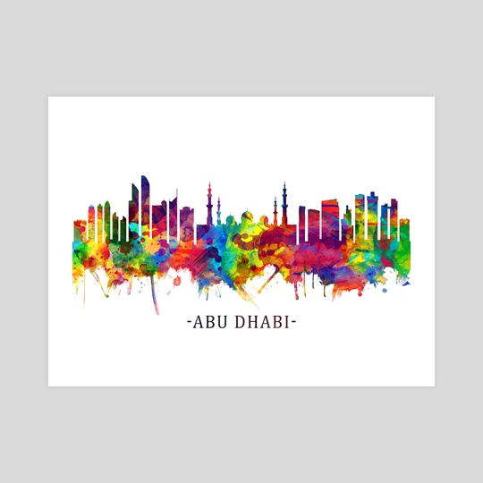 Abu Dhabi UAE Skyline Watercolor by Towseef Dar