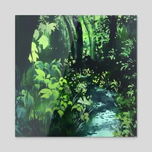 Forest Along a Trail - Acrylic by Brendalee