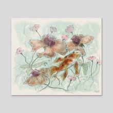 Flowers and Fishes 2 - Acrylic by Vinicius Chagas