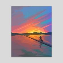 Bike ride to sunset - Canvas by Arina Mochalova