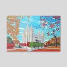Autumn Salt Lake City, Utah LDS Temple - Acrylic by Brian Sloan