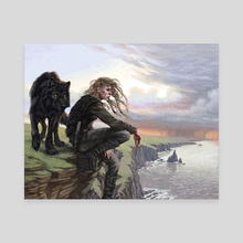 Rhona and the Wolf - Canvas by Candra Hope