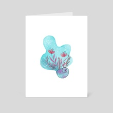 Seashell with flowers - Art Card by Nicole Wood