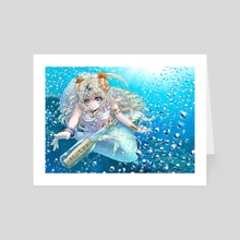 Message Bottle and Mermaid - Art Card by opera ame