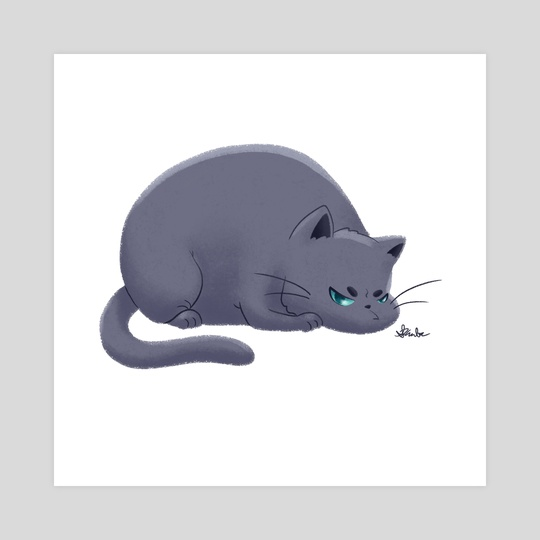 Fat Grumpy Cat - Gray by Sara Kuba