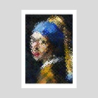 Girl With The Pearl Earring - Art Print by hazel thexton