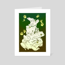 five frog stack with flowers - Art Card by Linnea Sterte