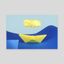 The yellow cloud over the yellow ship - Canvas by josemanuelerre