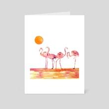 The Wading Flamingos - Art Card by Chintami Ricci