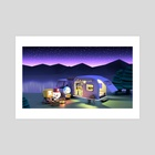 Camping Night - Art Print by clueme ain