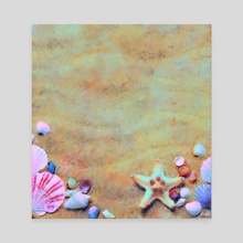 Summer Sand & Shells Expressionist Painting - Canvas by Bridget Garofalo