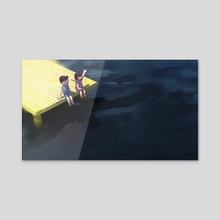 Boy and girl on the waterfront 2 - Acrylic by Archv Rit