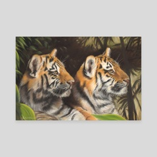 Tiger Cubs - Canvas by Richard Macwee