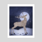 Stag By Moonlight - Art Print by Katherine Hahn