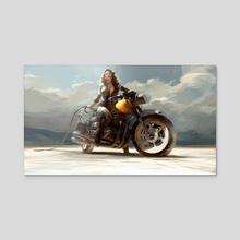 Biker Chick - Acrylic by Robert Sammelin