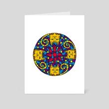 Mandala of 4 cats. Sun and sky - Art Card by Dmytro Rybin