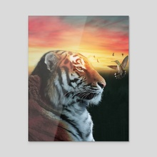 tiger with humming bird - Acrylic by ethereal  designs