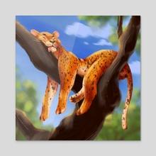 big lazy cat - Acrylic by Ekaterina Chumakova
