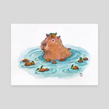 Capybara in Orange Bath (Watercolor) - Canvas by lunaagem