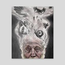 Hedgehog in the Fog - Acrylic by Ciaran Murphy