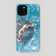 Elephant jumping into the water - Phone Case by Ramon Gonzalez Teja